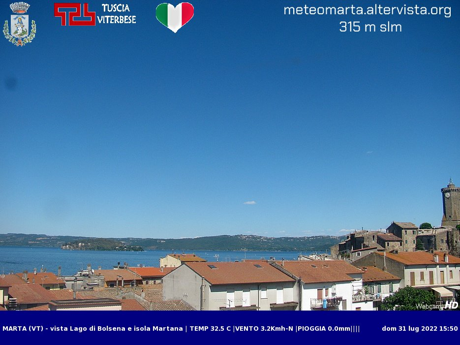 Webcam di Marta con vista Lago di Bolsena e isola Martana