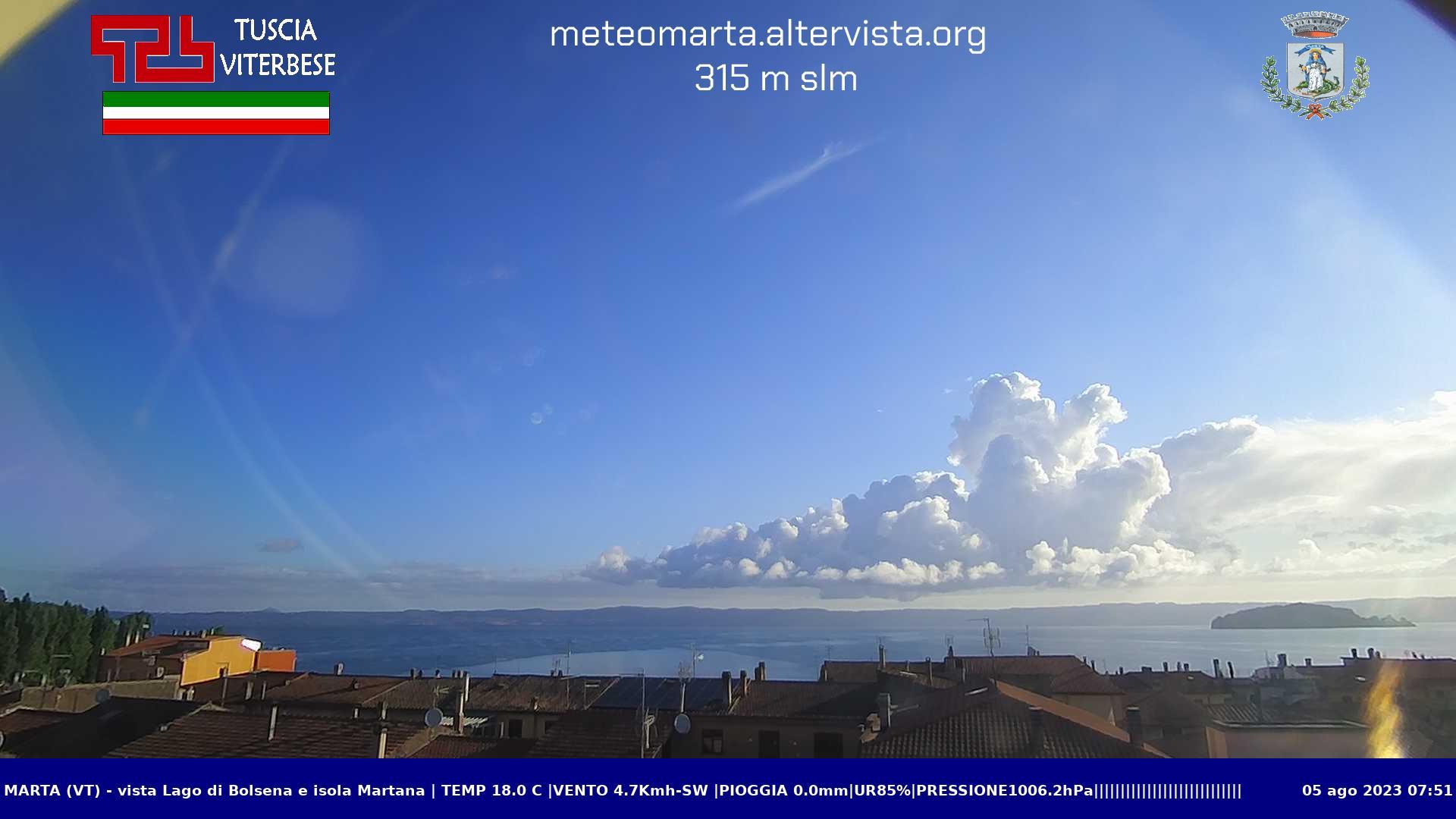 Webcam Marta con vista lago di Bolsena